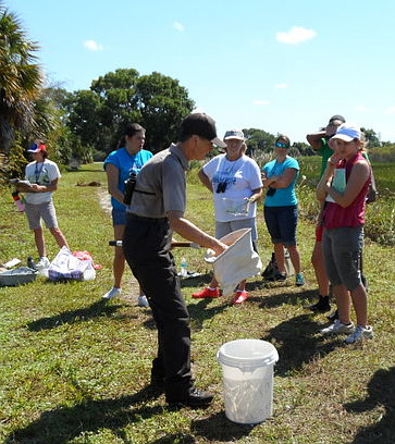 Palm Beach County teachers learn how to monitor aquatic life at Loxahatchee NWR. Photo courtesy of the Arthur R. Marshall Foundation.