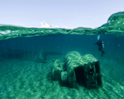 A diver explores parts of a sanctuary shipwreck preserved by the cold, fresh water of Lake Huron