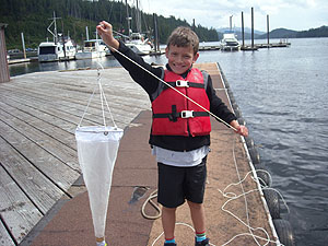 Student with plankton net