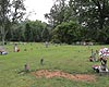A wide angle view of cemetery – linear arrangement of headstones apparent from this view; also note variety of headstones in this picture