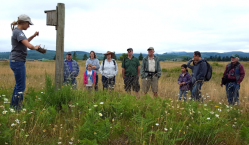 Kelsi Potterf, AmeriCorps Service Member, describes nesting traits of common prairie species.